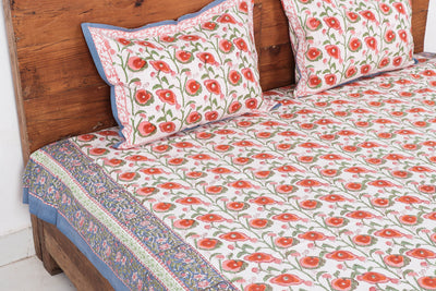 Sanganeri Hand Block Printed Cotton Double Bed Cover with Pillow Covers - 274 x 228 cm