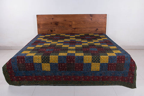 Reversible Kutch Tagai Embroidered Ajrakh Cotton Double Bed Cover with Patchwork (104x84 inches)