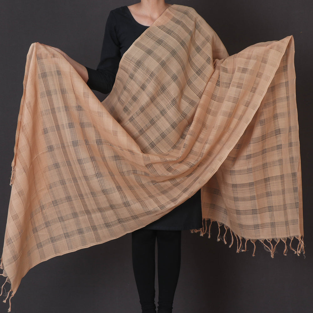 Mangalgiri Cotton Missing Checks Handloom Dupatta with Tassels by DAMA