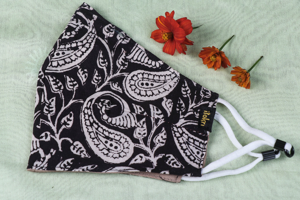 Bagh Block Print Cotton Fabric 3 Layer Snug Fit Face Cover
