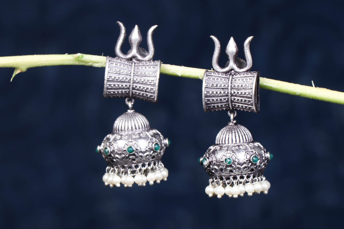 Antique Silver Finish Oxidised Special Brass Base Jhumki Earrings