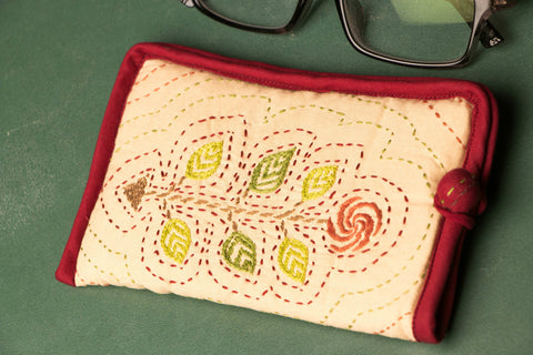Kantha Embroidered Cotton Spectacle Case