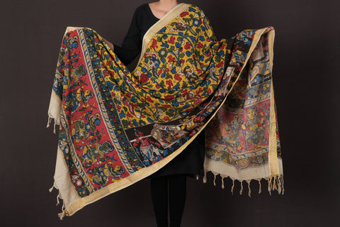 Handpainted Srikalahasti Kalamkari Pen Work Pure Cotton Dupatta with Zari Border