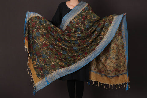 Handpainted Srikalahasti Kalamkari Pen Work Pure Cotton Dupatta