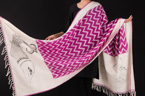 Handpainted Cotton Ikat Dupatta by Varushali - Fish