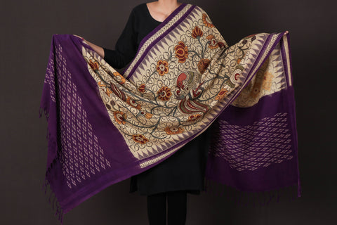 Pure Handloom Cotton Double Ikat Handpainted Srikalahasti Kalamkari Pen Work Dupatta