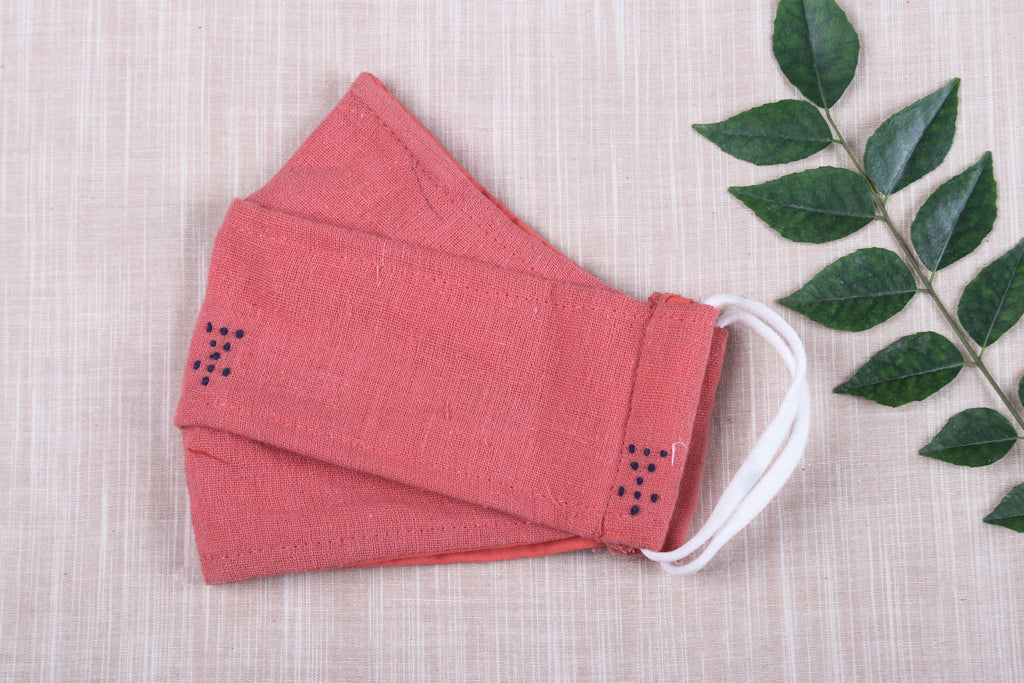 Organic Kala Cotton Pure Handloom Fabric 3 Layer Maska Snug Fit Face Cover