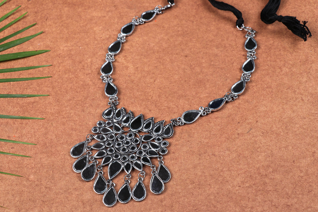 Antique Finish Oxidised Special Brass Base Mirror Work Necklace