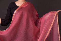 Kota Doria Silk Leheria Ombre-Dyed Dupatta with Zari