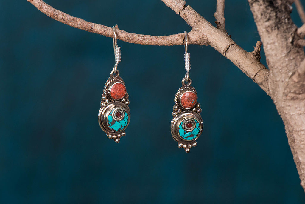 Ethnic Tribal Tibetan Earrings from Himalaya