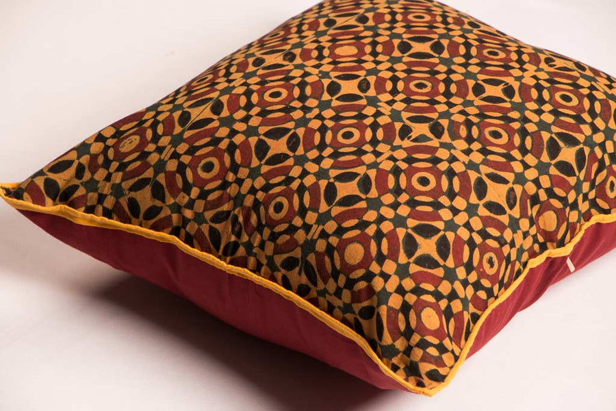 Ajrakh Block Print Cushion Cover (16.5 x 16.5 inches)