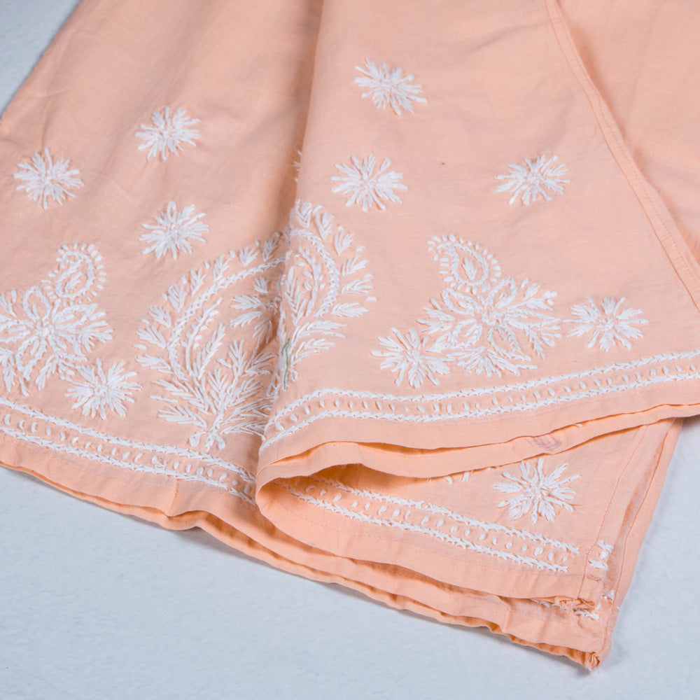 Lucknow Chikankari Hand Embroidered Cotton Palazzo (Free Size)