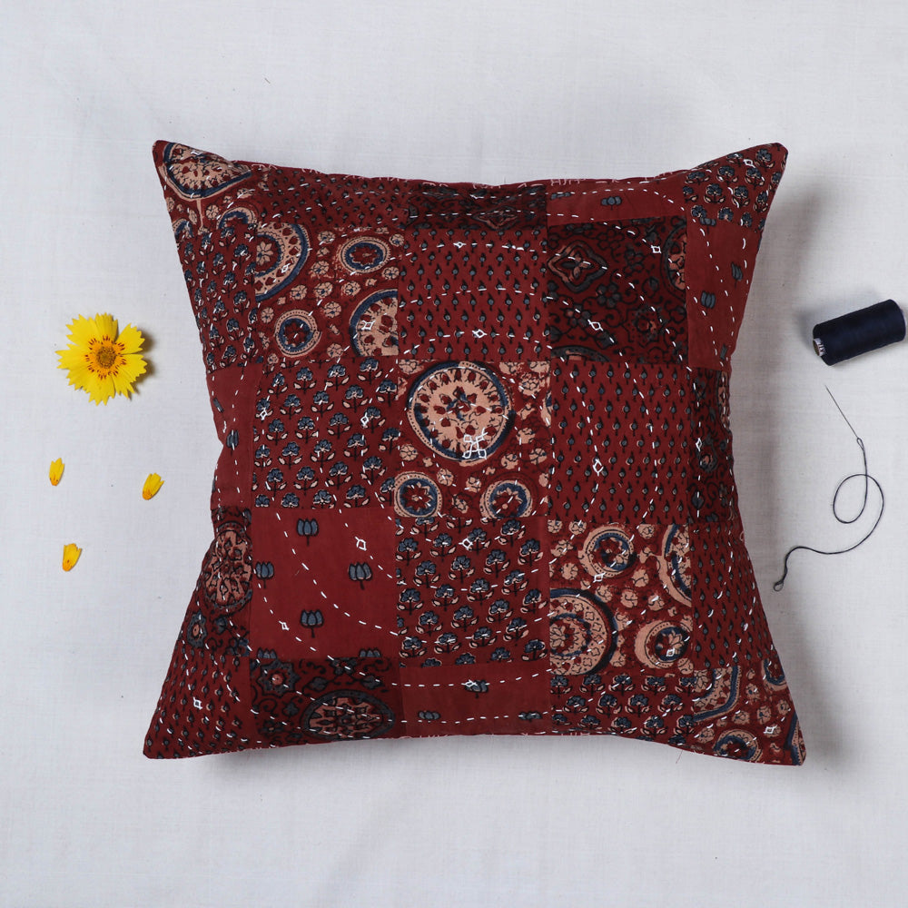 Tagai Embroidered Ajrakh Cotton Cushion Cover (16 x 16 in)