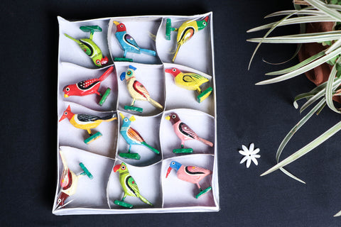 Handpainted Wooden - Bird (Set of 12)