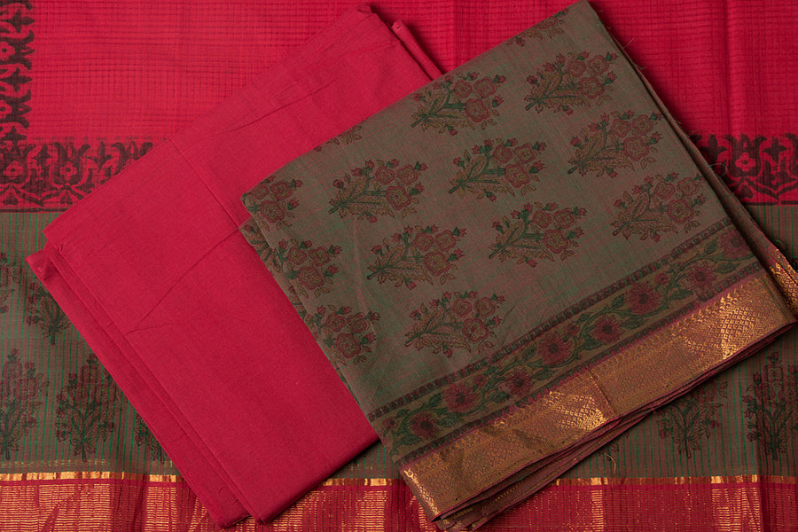 3pc Mangalgiri Handloom Block Printed Cotton Suit Material Set with Zari