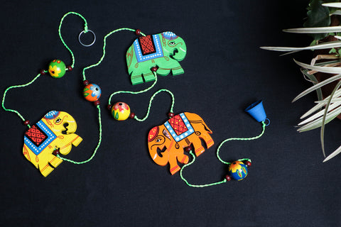 Handpainted Wooden - Elephant Hanging