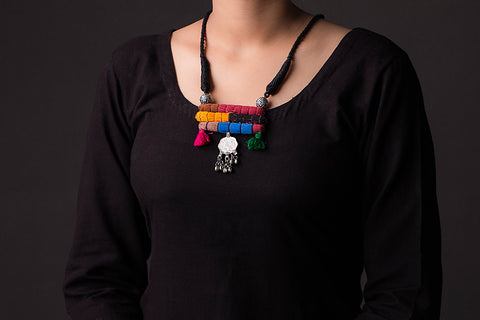 Chammak Challo Threaded Bead & Coin Work Necklace