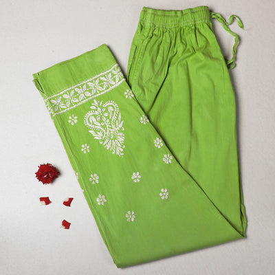 Lucknow Chikankari Hand Embroidered Cotton Cropped Pant (Free Size)