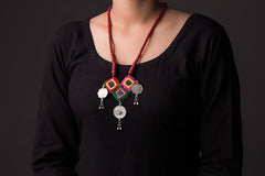 Chammak Challo Threaded Mirror & Coin Work Necklace