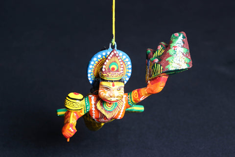 Handpainted Wooden - Flying Hanuman