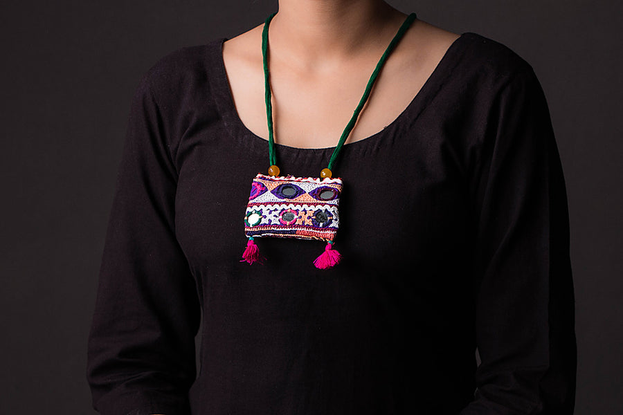 Chammak Challo Threaded Mirror Work Necklace
