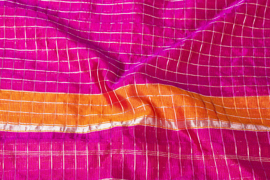 Original Mangalgiri Silk Cotton Silver Zari Checks Handloom Saree with Zari Border