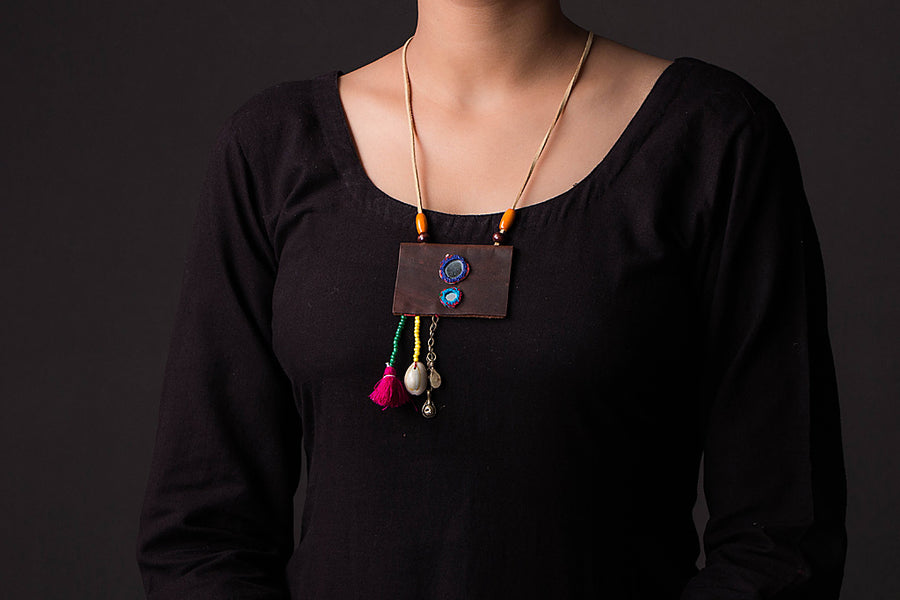 Chammak Challo Leather Mirror Work Necklace