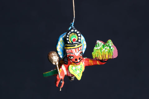 Handpainted Wooden - Flying God Hanuman