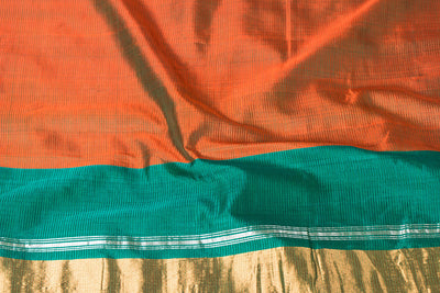 Original Mangalgiri Silk Cotton Handloom Saree with Silver & Golden Zari Border