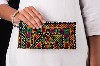 Kutchi Embroidery Mirror Work Clutch