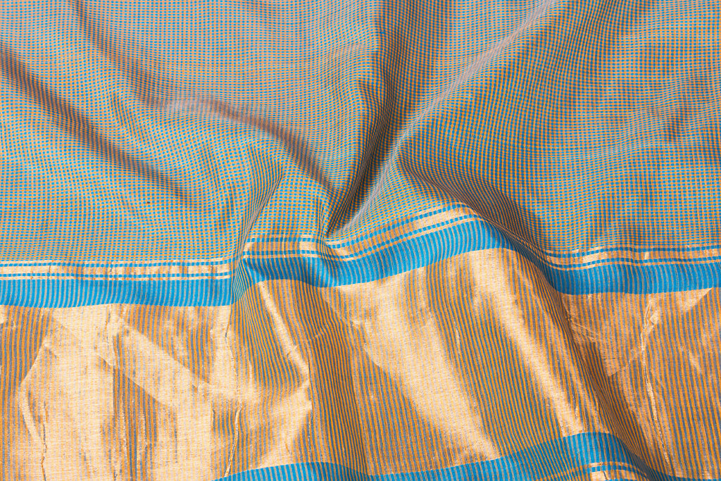 Original Mangalgiri Silk Cotton 2 x 2 Checks Handloom Saree with Zari Border