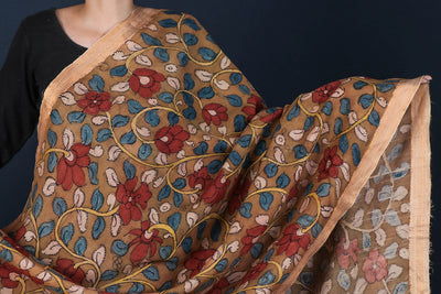 Chanderi Silk Handpainted Srikalahasti Pen Work Kalamkari Dupatta with Zari Border