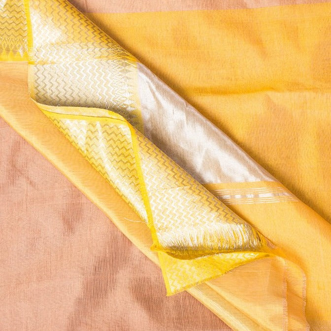 Original Mangalgiri Silk Cotton Silver Zari Handloom Saree with Heavy Zari Border