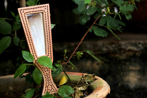 Hand Carved Loquat Wood Jali Hand Mirror