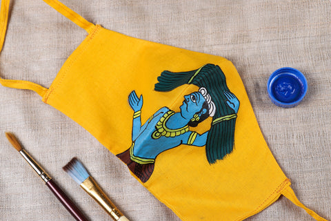 Cheriyal Scroll Painted Cotton 3 Layered Tie-on Face Cover with Filter Pocket