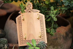 Hand Carved Loquat Wood Jali Key Holder (4 hooks)
