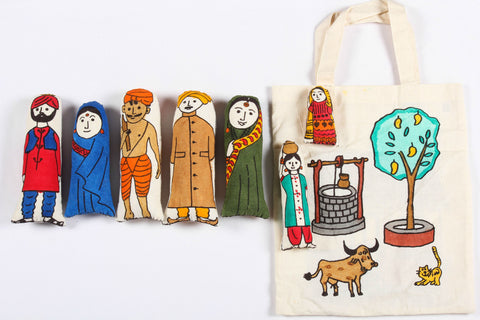 Mesh Stuffed Toy - Indian Family Bag (set of 7)