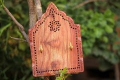 Hand Carved Red Wood Jali Key Holder (2 hooks)