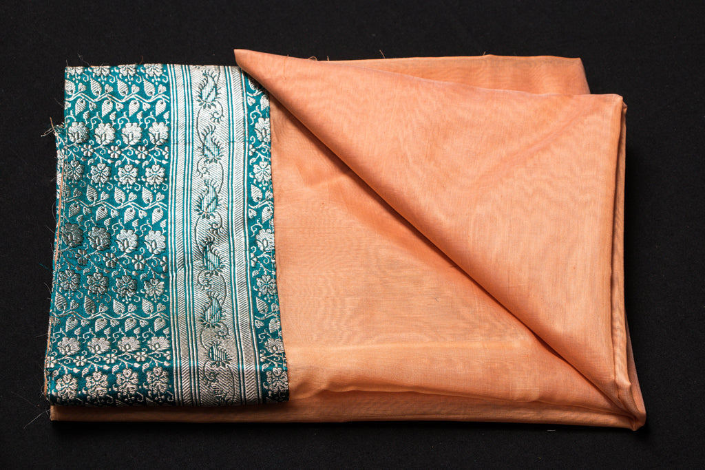 Banarasi Brocade Border Handloom Chanderi Silk Fabric Blouse Material