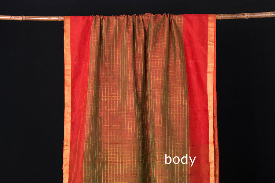 Original Mangalgiri Silk Cotton Zari Checks Handloom Saree with Zari Border