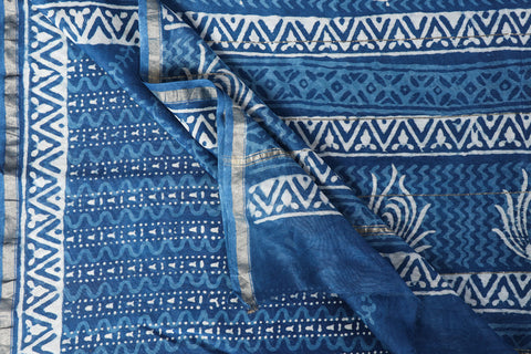 Bagru Indigo Block Print Handloom Chanderi Silk Saree with Zari Border