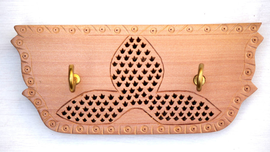 Hand Carved Loquat Wood Jali Key Holder (2 hooks)