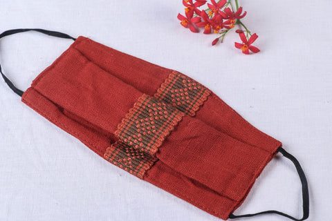 Pure Handwoven Chizami Weave Cotton 2 Layer Pleated Snug Fit Face Cover