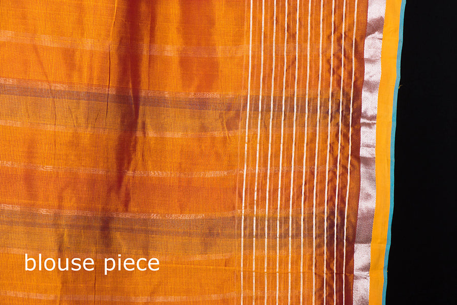 Original Mangalgiri Silk Cotton Silver Zari Stripe Handloom Saree with Zari Border