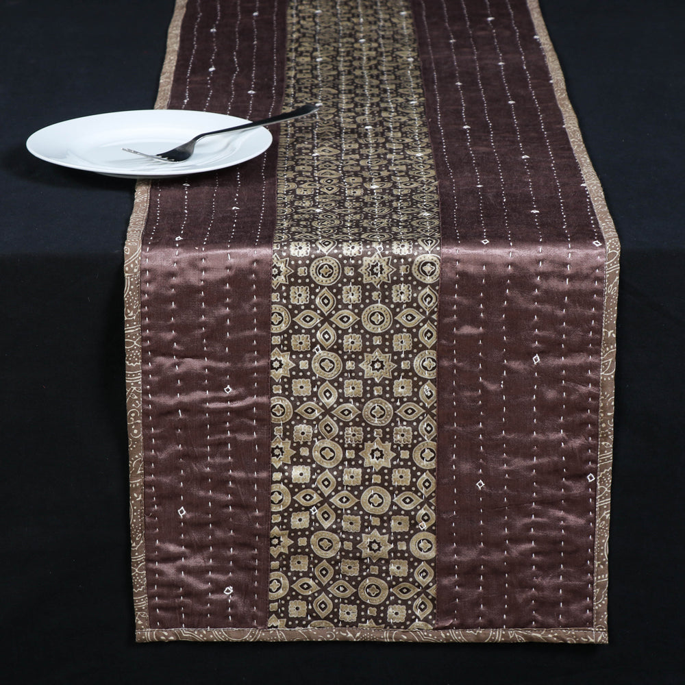 Kutch Tagai Embroidered Patchwork Mashru Silk Table Runner (14 x 72 in)
