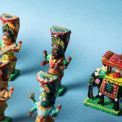 Indian Gods (Set of 10) - Special Handpainted Wooden Home Decor Item