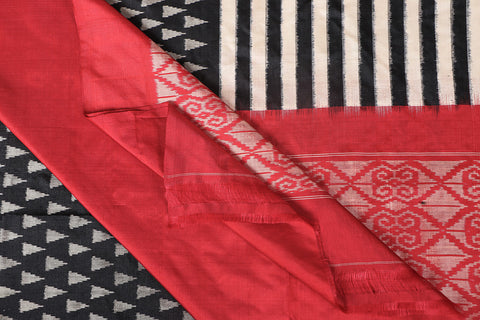 Handspun Pure Tussar Silk Pochampally Ikat Saree With Blouse
