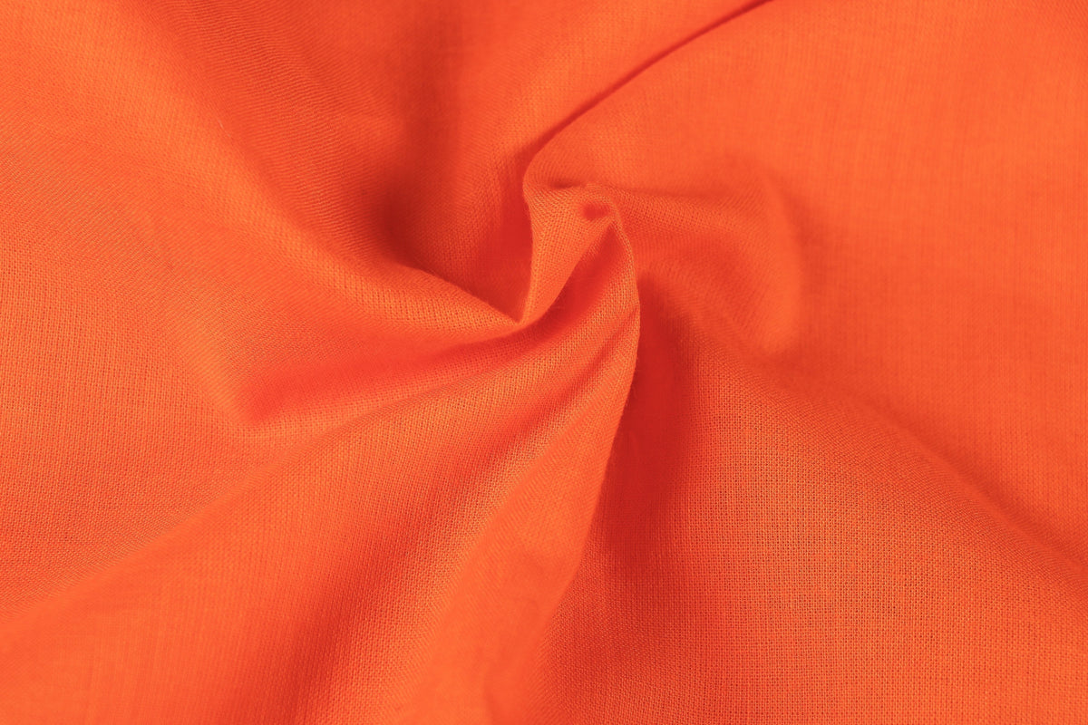 Orange - Pre Washed Plain Dyed Pure Cotton Fabric (Width - 44in)