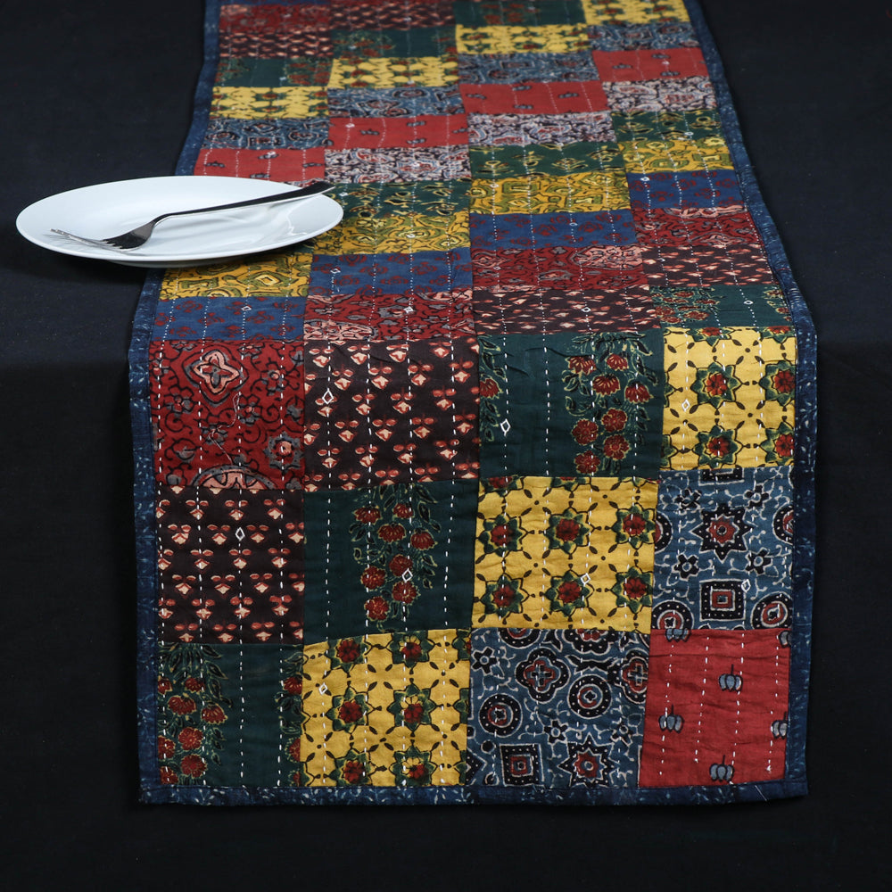 Kutch Tagai Embroidered Ajrakh Print Patchwork Cotton Table Runner (14 x 72 in)