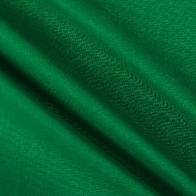Green - Pre Washed Plain Dyed Pure Cotton Fabric (Width - 44in)